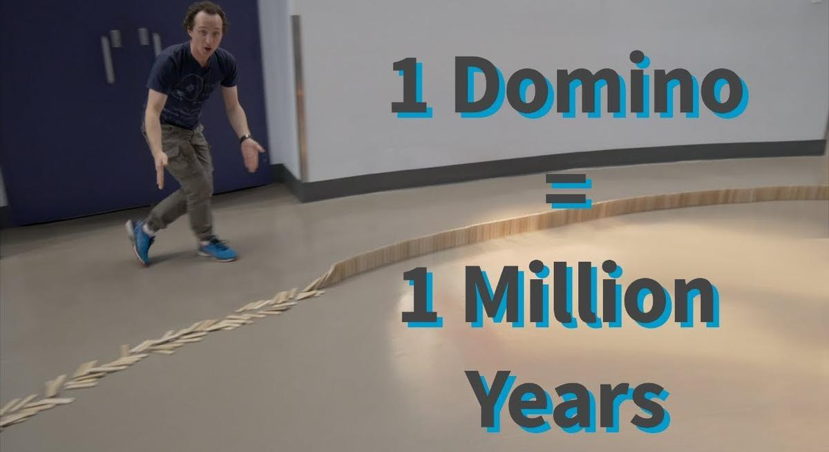 Using 2000 Dominos To Lay Out The Last 2000 Million Years Of Earth Puts Things In Perspective