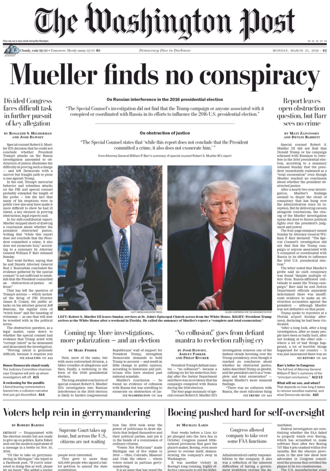 Newspaper Investigations Of Toxic >> How Major Newspapers Covered The Mueller Report News Digg