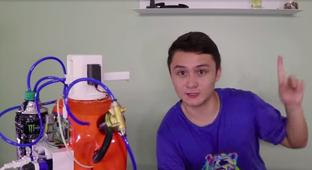 Guy Builds Robot To Automatically Squirt Energy Drink At Him When He Gets Tired