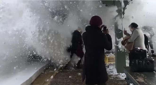 Train Blasts Through Snow Drifts At Station, Destroys Everyone On The Platform
