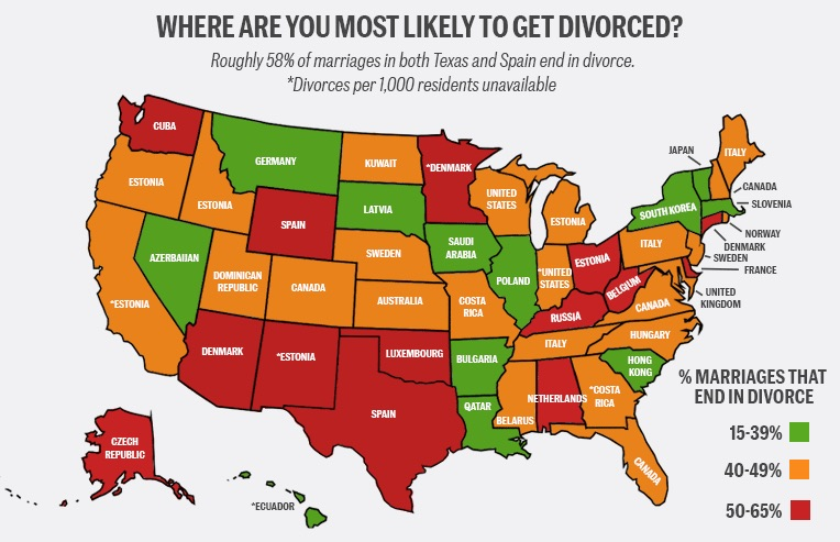 How The Divorce Rate In Every State Compares To Countries' Around