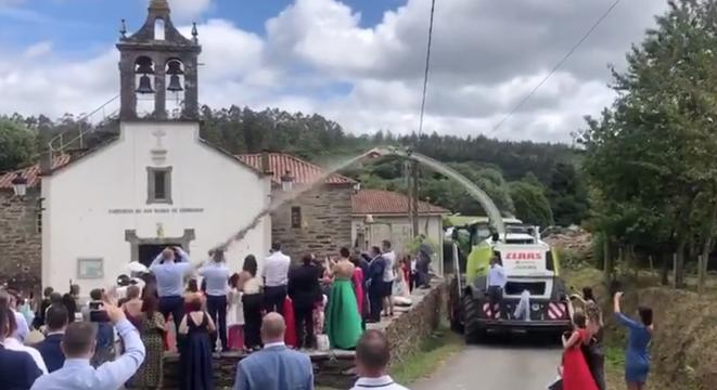 Farmer Uses Harvester To Spray Corn On Newlyweds Instead Of Rice, Ruins Everyone's Day