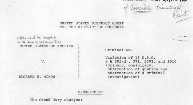 Here's The Criminal Indictment Of President Nixon For Watergate