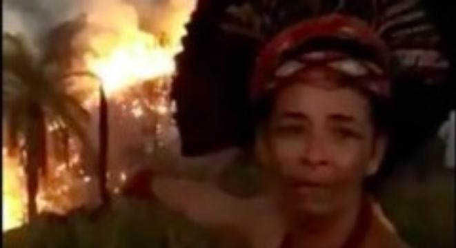 Indigenous Pataxó Woman Breaks Down In Tears As Amazon Rainforest Burns Behind Her