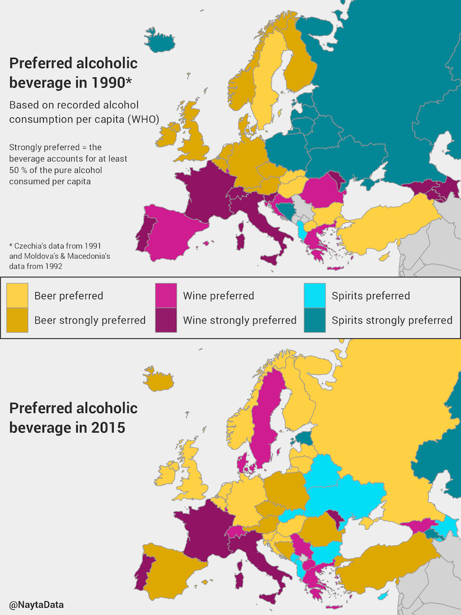 how the favorite alcohol in european countries has changed over time