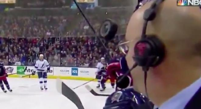 NHL Commentator Avoids A Puck To The Head By Inches