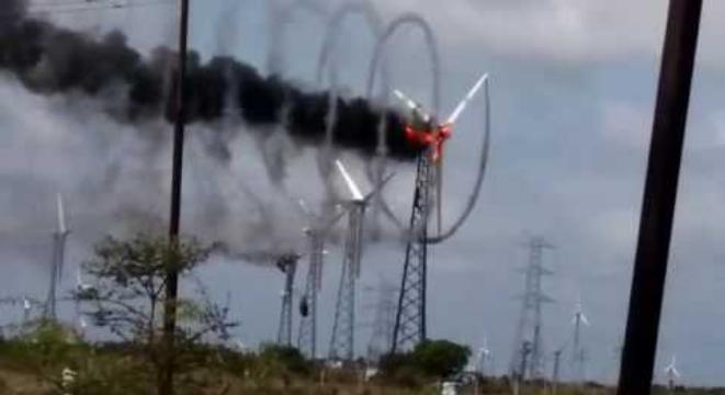 Wind Turbine Catches On Fire And Creates A Swirling Vortex Of Smoke