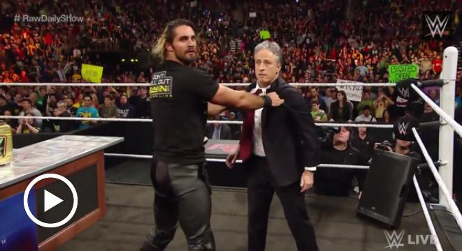 Jon Stewart Kicked Seth Rollins In The Groin On 'Monday Night Raw' - Digg