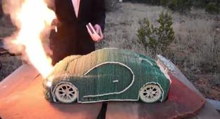 Man Sets Fire To A Bugatti Chiron Model Made From 15,500 Matches