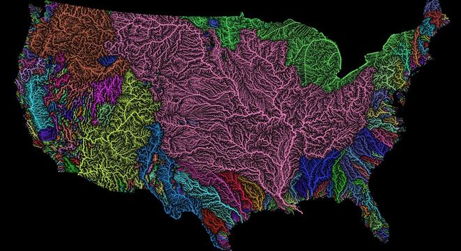 A Gorgeous Map Showing Every River Basin In The US Digg - Us watershed map