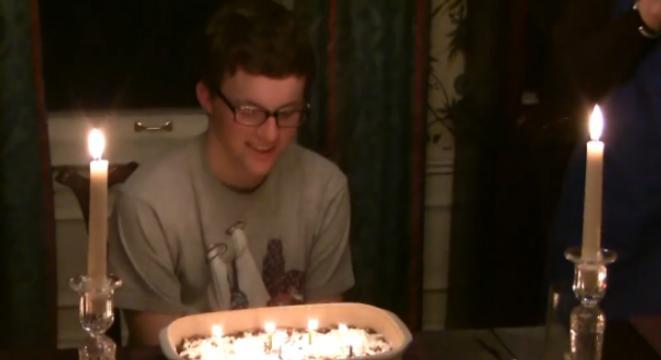 Powdered Sugar Birthday Cake Fire