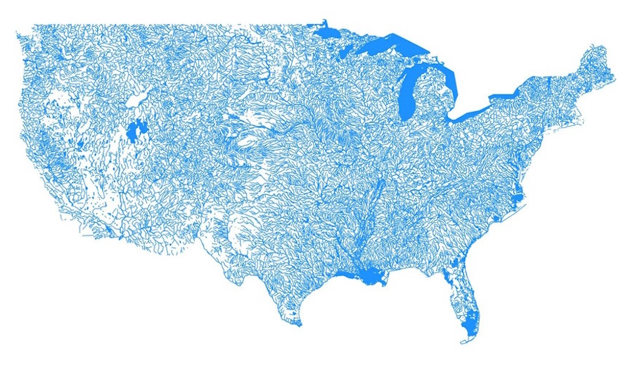 A Beautiful Map Of Every Body Of Water In The Us Digg - Us-bodies-of-water-map