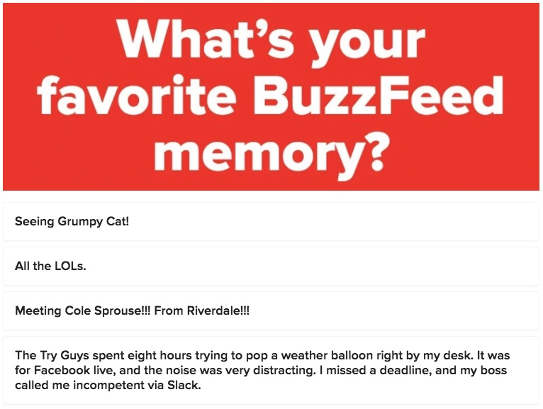 Former BuzzFeed Staffer Uses Community Quiz Builder To Roast Company