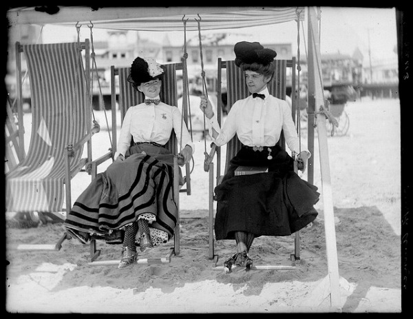 Image: Two women on Atlantic City Beach circa 1915.