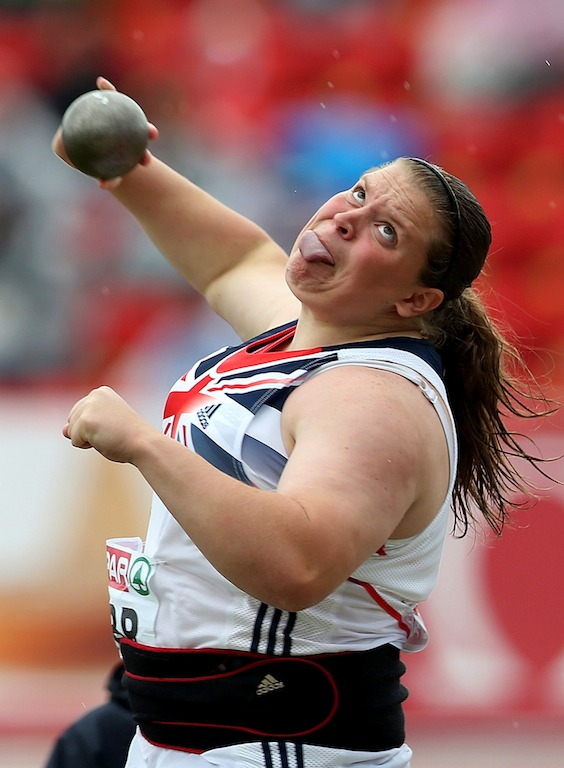 Image: Sophie McKinna of Great Britain competes in the Shot Putt during day two of the European Athletics Team Championships at Gateshead Stadium in Newcastle, on June 23, 2013.