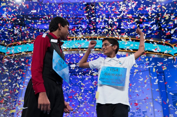 Image: Ansun Sujoe, 13, of Fort Worth, Texas, left, and Sriram Hathwar, 14, of Painted Post, N.Y., celebrate after being named co-champions of the National Spelling Bee, on Thursday, May 29, 2014, in Oxon Hill, Md.