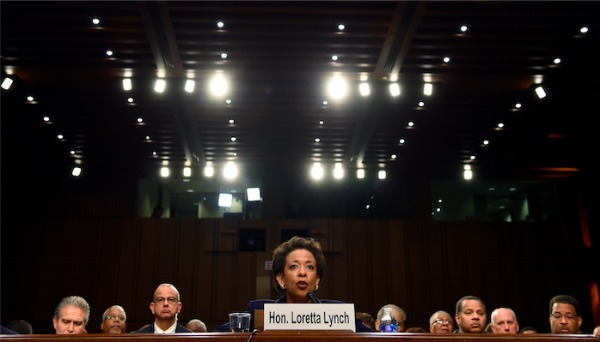 Image: Attorney General nominee Loretta Lynch testifies on Capitol Hill in Washington, Wednesday, Jan. 28, 2015, before the Senate Judiciary Committee's hearing on her nomination. If confirmed, Lynch would replace Attorney General Eric Holder, who announced his resignation in September after leading the Justice Department for six years. The 55-year-old federal prosecutor would be the nation's first black female attorney general.