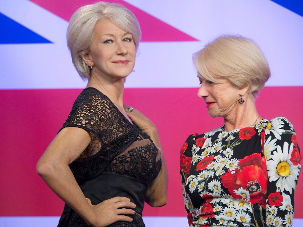 Image: British actress Helen Mirren looks at one of three wax figures of herself, made in celebration of her recent 70th birthday, at Madame Tussauds in central London, Thursday, July 30, 2015.