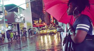Enjoy The Sounds Of Times Square On A Rainy Evening
