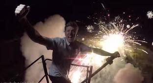 Mad Man Builds A Humongous Pendulum Fireworks Launcher