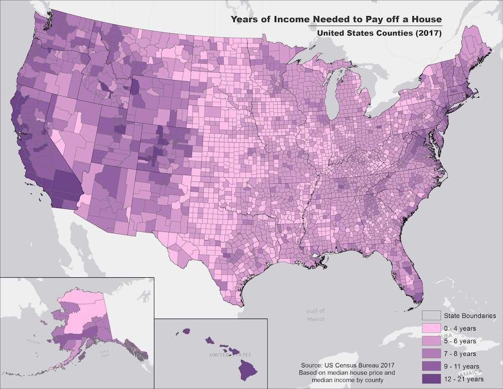How Many Years Of Income It Takes To Buy A House, Mapped - Digg