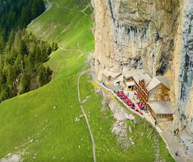 You Have To Climb A Mountain To Get To This Remote Restaurant In The Swiss Alps