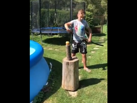 The Battle Of Samurai Sword Versus Inflatable Pool Is A Short One