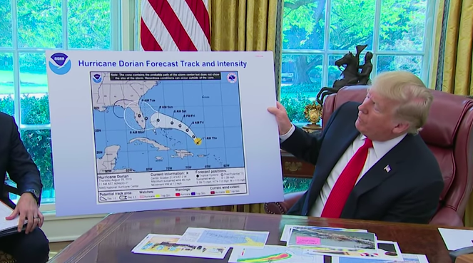 Donald Trump Shows A Blatantly Altered Hurricane Dorian Map To Cover For His Alabama Gaffe
