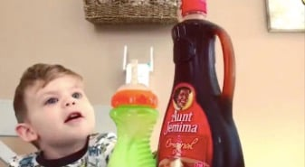 Boy Completely Flabbergasted By His Dad's Pancake Syrup 'Magic' Trick
