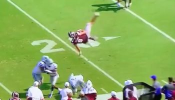 Watch Mississippi State Quarterback Garrett Shrader Make A Herculean Leap In An Attempt For A First Down