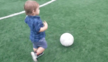 1-Year-Old Boy Kicks A Soccer Ball Surprisingly Well Until He Gets Distracted By Girls