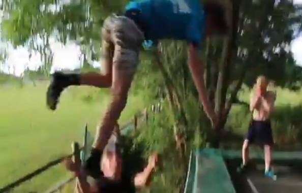 Kid's Quick Reflexes Saves His Friend After Huge Trampoline Jump Goes Awry