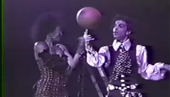 Here's Prince Dribbling A Basketball And Shooting Hoops Live In Concert In 1988
