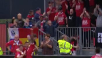 Soccer Player Scores, Catches Beer Hurtling Out Of The Stands, Chugs It