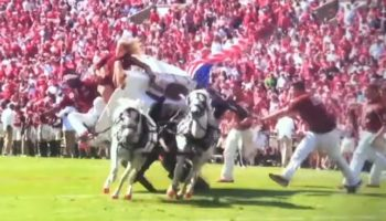Oklahoma Fans Watch In Horror As The Sooner Schooner Crashes After Touchdown Celebration