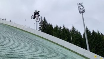Mountain Biker's Attempt To Jump Off Ski Jump Goes Extremely Poorly