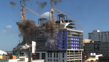 Demolition Of Cranes At Partially Collapsed Hard Rock Hotel Does Not Go As Planned