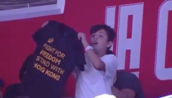 Kid Tricks The NBA Dance Cam, Flashes 'Stand With Hong Kong' T-Shirt