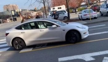 Here's A Driverless Tesla Model 3 Being 'Smart Summoned' On The Wrong Side Of The Road To The Horror Of Passerby