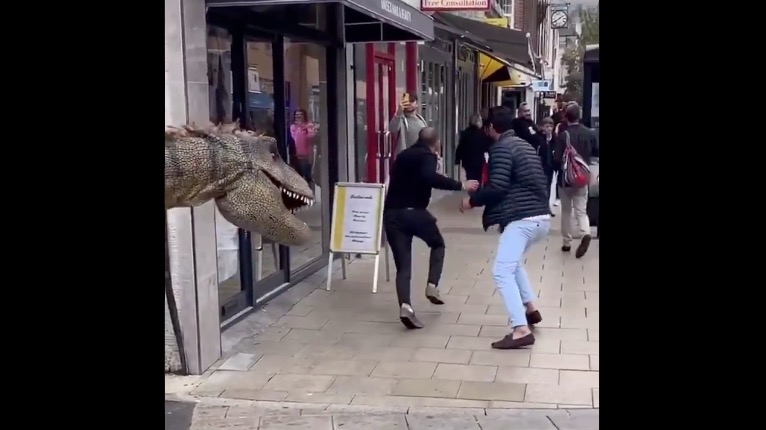 These Guys' T-Rex Prank Is Brilliantly Effective