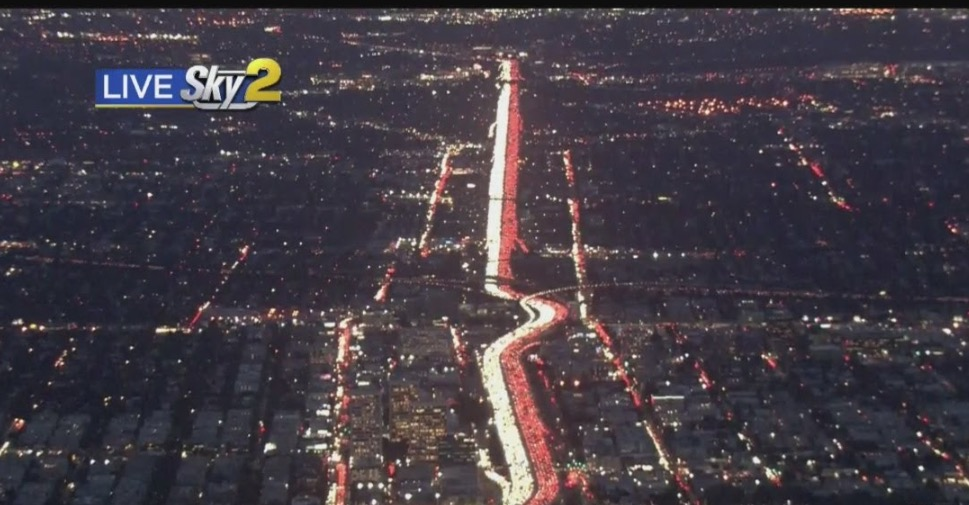 Watch Wall-To-Wall Traffic Get Jammed On 405 Freeway For Thanksgiving Travel
