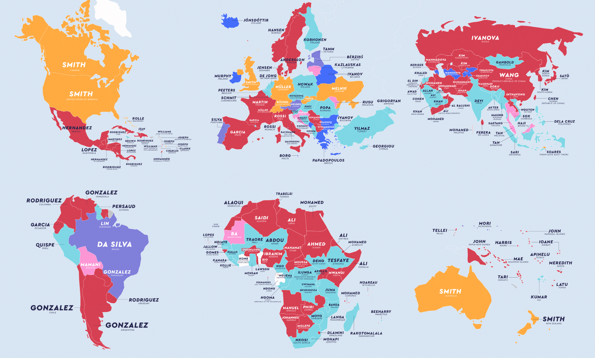 The Most Common Last Names In Every Country, Mapped