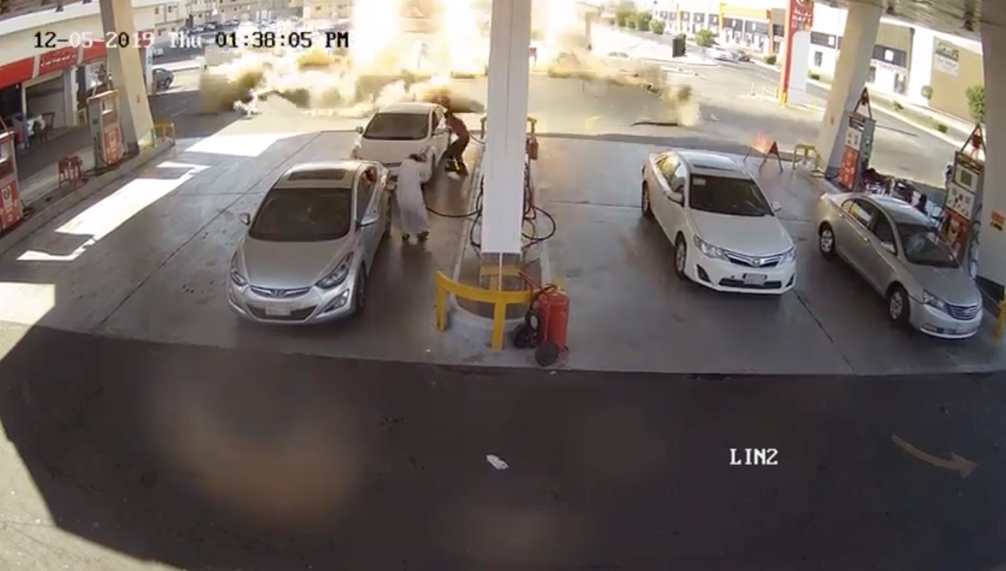 The Moment An Underground Gas Tank Explodes At Gas Station