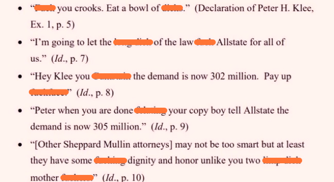 Attorney Threatens Allstate Lawyers With Variety Of The Most Over-The-Top Obscenities Imaginable