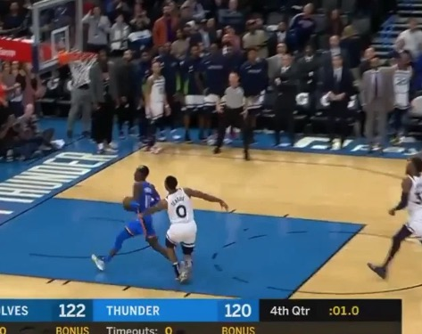 You Won't See A Better Inbound Pass Than The One Oklahoma City Thunder's Steven Adams Heaved To Tie The Game At The Buzzer
