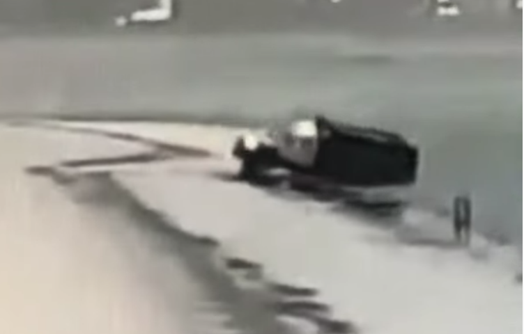 Chicago Salt Truck Hits Ice And Skids Into Lake Michigan