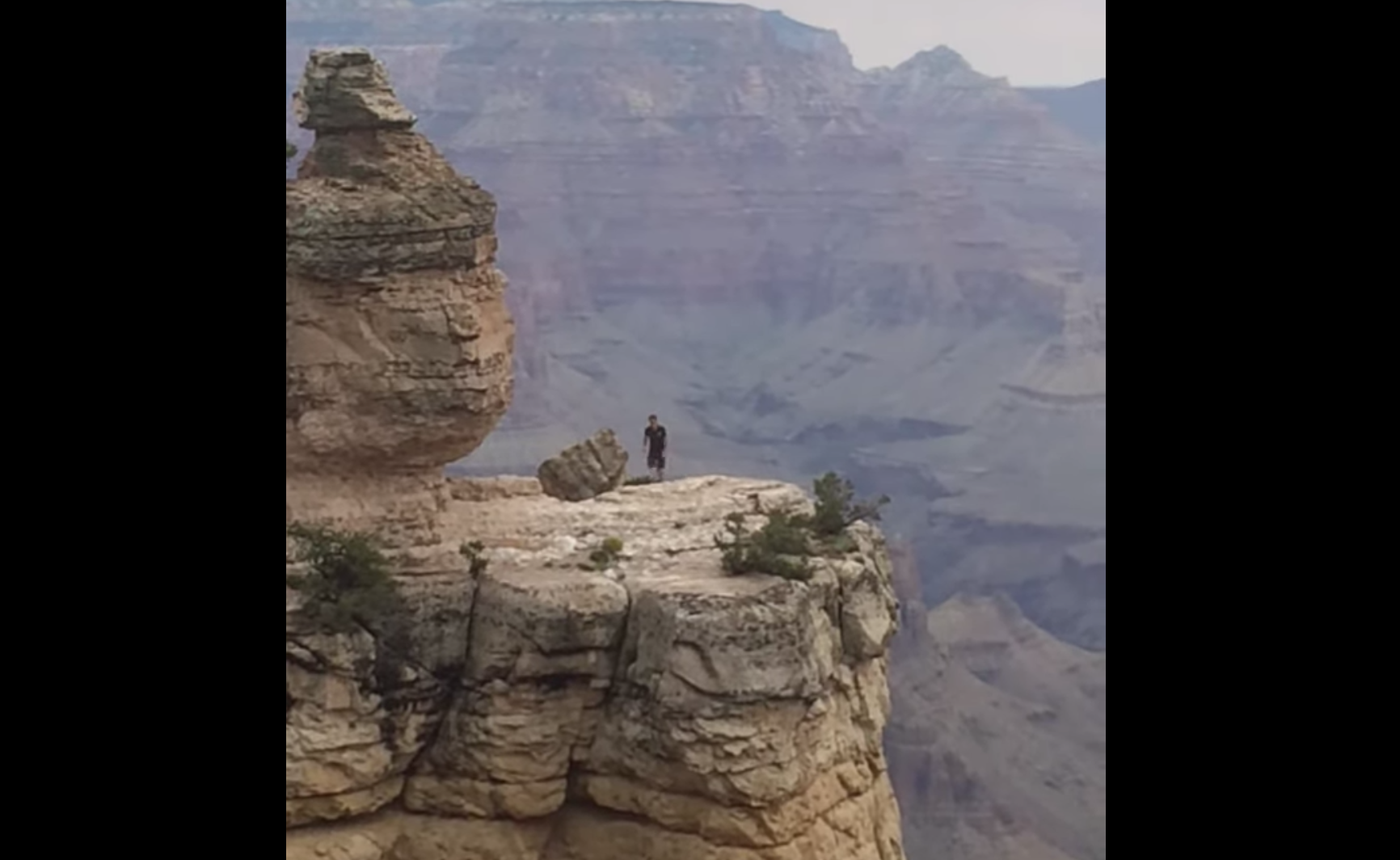 Man With A Death Wish Flagrantly Runs On The Edge Of The Grand Canyon