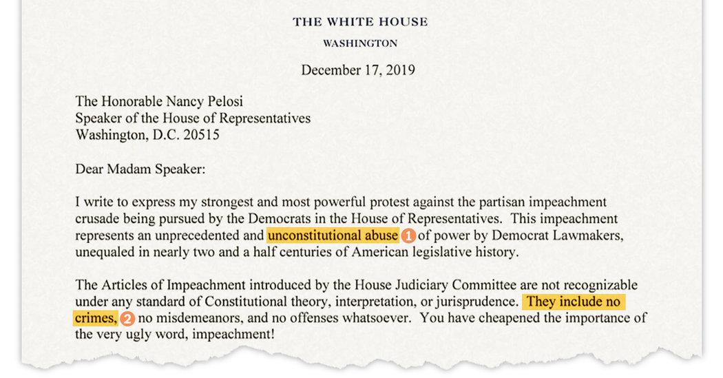 Read Trump's Letter To Pelosi Protesting Impeachment