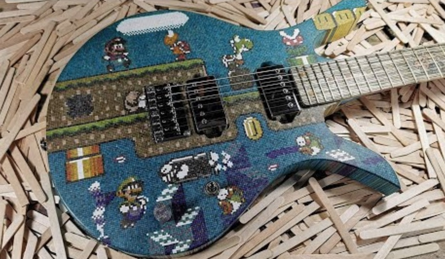 Man Builds A Super Mario Guitar Out Of 10 000 Lollipop