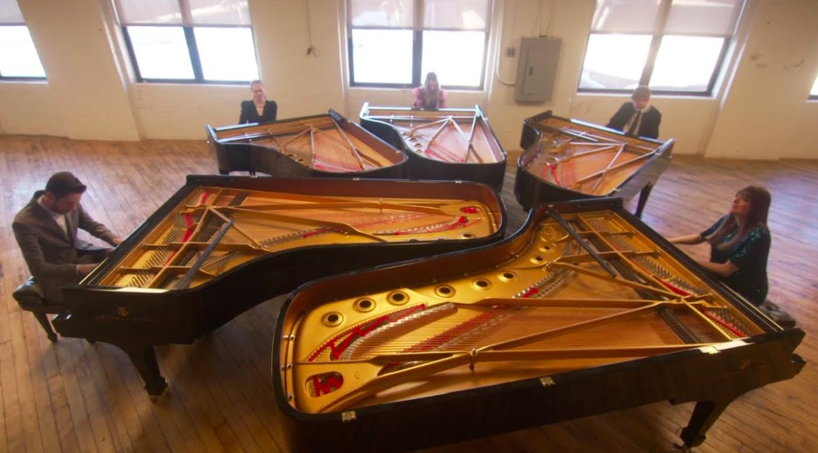 Five Siblings Perform Epic Version Of 'Sleigh Ride' On Five Steinway Grand Pianos